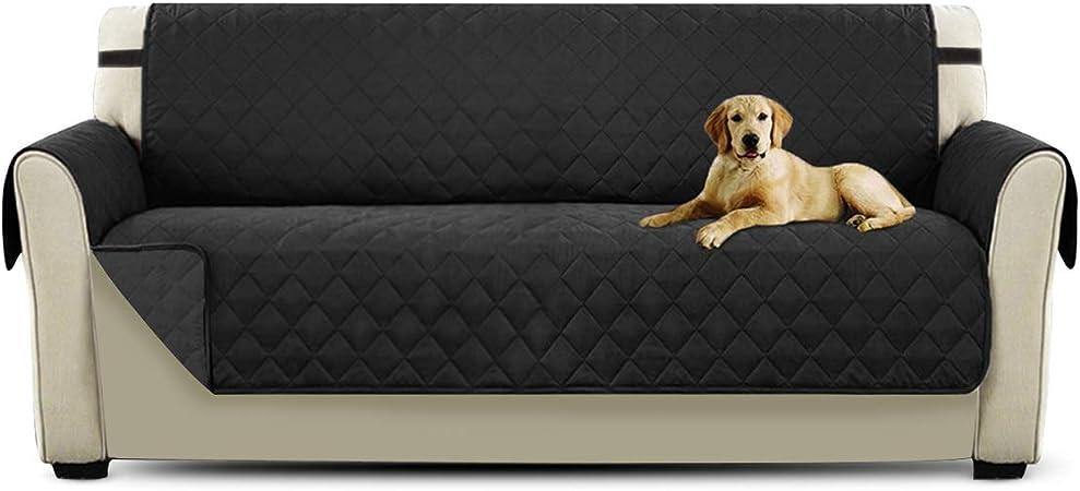 PETCUTE Cubre sofá Fundas de Sofa 3 plazas Protector de sofá Negro Acolchado Forros para Sofas: Amazon.es: Hogar