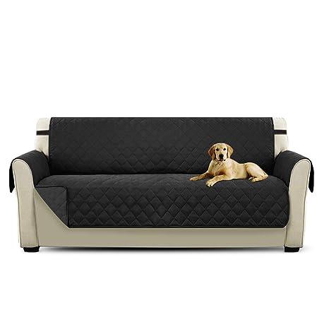 PETCUTE Cubre sofá Fundas de Sofa 3 plazas Protector de sofá Negro Acolchado Forros para Sofas