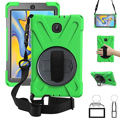 New Galaxy Tab A 8.0 2018 Case,360 Degree Rotatable w/Kickstand,Hand Strap & Shoulder Grip, 3 Layer Hybrid Heavy Duty Shockproof Cover for Samsung Galaxy Tab A 8.0 SM-T387 T387 Verizon/Sprint Green