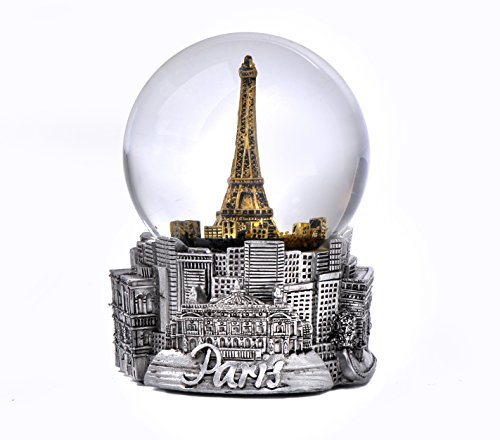 - Paris France Eiffel Tower Snow Globe in Silver and Gold Exclusive 65mm