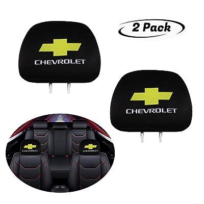 Luckily Seat Headrest Cover for Chevrolet, Print Black Fabric Universal Headrest Cover Set, New Interchangeable Car Seat Headrest Covers Fit for Cars Vans Trucks (for Chevrolet): Automotive