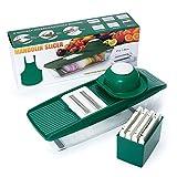 Draizee Mandoline Slicer | Vegetable Grater, Julienne Slicer Cutter and Peeler, Brush, Hand Protector and Storage Container | Veggie Slicer and Vegetable Cutter | 5 Interchangeable Blades