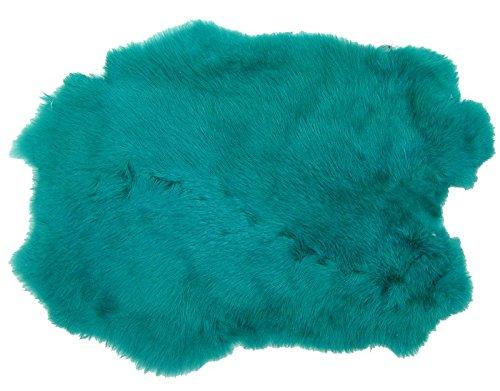 Ensuite Kaninchenfelle tü rkis gefä rbt, ca. 30x30 cm, Felle vom Kaninchen mit seidigem Haar