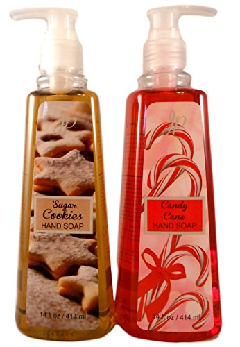 Winter Holidays Seasonal Soaps - Bundle of 2 Scented Liquid Soaps (Candy Cane & Sugar Cookie)