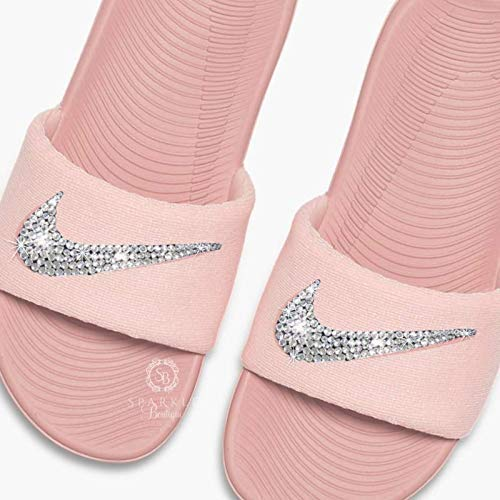 4565b0bc6 Women's NIKE Slides Bling Sandals Rust Pink Color Bedazzled Crystal Nikes