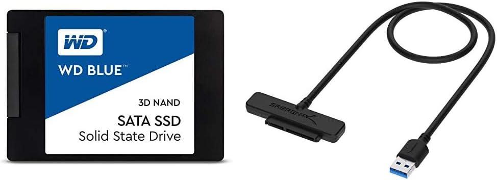 WD Blue 3D NAND 1TB Internal PC SSD - SATA III 6 Gb/s, 2.5%22/7mm, Up to 560 MB/s - WDS100T2B0A Bundle with Sabrent USB 3.0 to SSD / 2.5-Inch SATA I/II/IIIHard Drive Adapter (EC-SSHD)