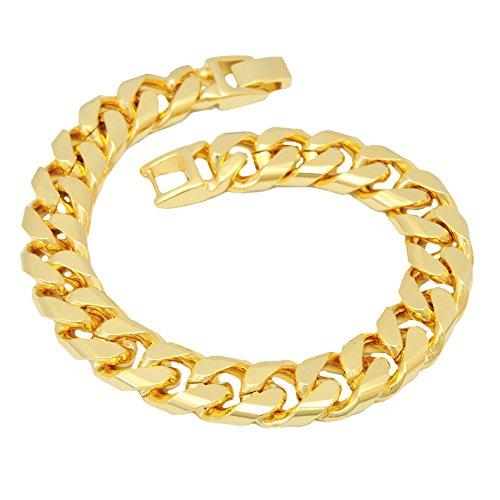 Heavy Chain Plated Bracelet Gold - Gold Chain Bracelet, Yellow Gold Plated 12mm Heavy Chain Jewelry for Men Women, (7.9)