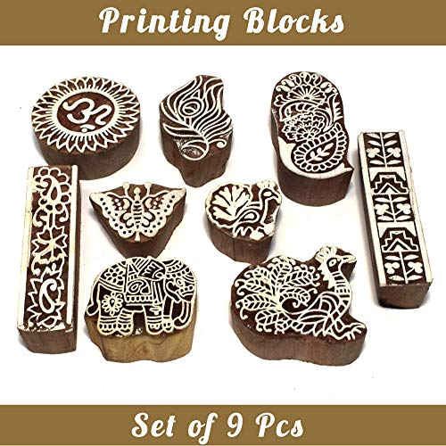 Asian Hobby Crafts Baren Handcarved Wooden Blocks for Stamping, Block Printing on Textiles, Pottery Crafts,Henna, Scrapbooking, Wall Painting: Set of 9pcs (Design ()