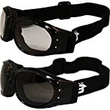 Red Baron Motorcycle/Aviator Padded Goggles Googles Smoked Clear Day Night with Carry Bags