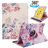 iPad 9.7 2018/2017, iPad Air 2, iPad Air Case - 360 Degree Rotating Stand Protective Cover with Auto Sleep Wake for Apple New iPad 9.7 inch (6th Gen, 5th Gen) / iPad Air 2013 Model (Peony Flowers)