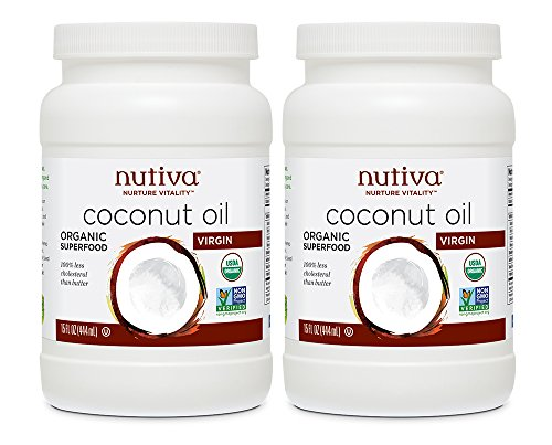 Nutiva Organic, Cold-Pressed, Unrefined, Virgin Coconut Oil from Fresh, non-GMO, Sustainably Farmed Coconuts, 15 Fl Oz (Pack of 2)
