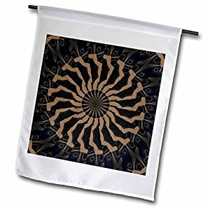 Houk Digital Abstraction Art - Fancy Kaleidoscopes - Elegant Gold Decorative Spiral Mandala - 12 x 18 inch Garden Flag (fl_42513_1)