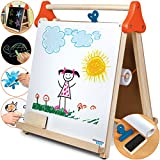 Discovery Kids 3-in-1 Tabletop Dry Erase Chalkboard Painting Art Easel with Paper Roll and Oversized Clip, 17 x 15 inch Wood Frame, Perfect for Children 3+ | Foldable/Portable for Countertop Play