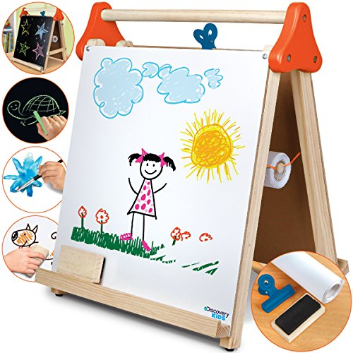 Discovery Kids 3-in-1 Tabletop Dry Erase Chalkboard Painting Art Easel with Paper Roll and Oversized Clip, 17 x 15 inch Wood Frame, Perfect for Children 3+ | Foldable/Portable for Countertop Play by Discovery Kids