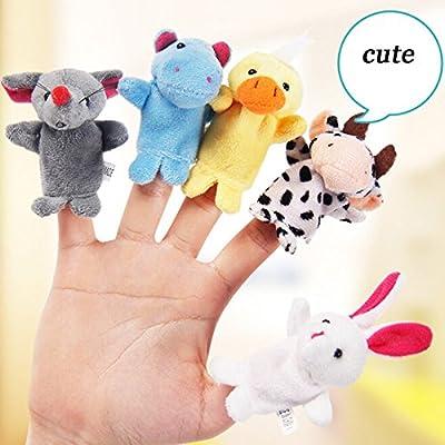 10PCS Cute Cartoon Biological Animal Finger Puppet Plush Toys Child Baby Favor Dolls Boys Girls Finger Puppets: Kitchen & Dining