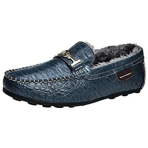rismart Mens High-End Water Resistant Croco Stamping Leather Driving Shoes Stylish Warm Lining Loafer Flats Navy Plush 1314-1 US7 kTfrG4N