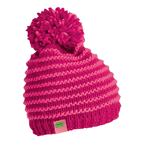 Heavyweight Knit Cap - Turtle Fur Marcy Girl's Fleece Lined Oversized Pom Hand Knit Winter Hat Pink
