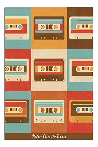 JP London Solvent Free Poster Art Print SPAP2492 Ready to Frame Vintage Retro Cassette Tape Mixed At 17' h by 11' w