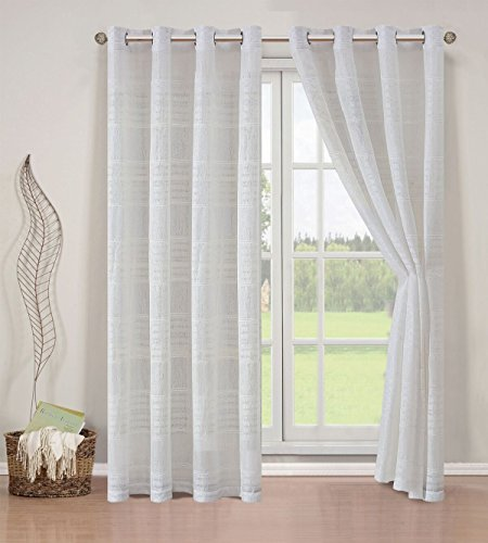 (Elegant Home 2 Piece Striped Semi Sheer Window Treatment Curtain Panel Set of 2 Grommet Window Draperies Panels for Living Room Bedroom or ANY Window Up to 108