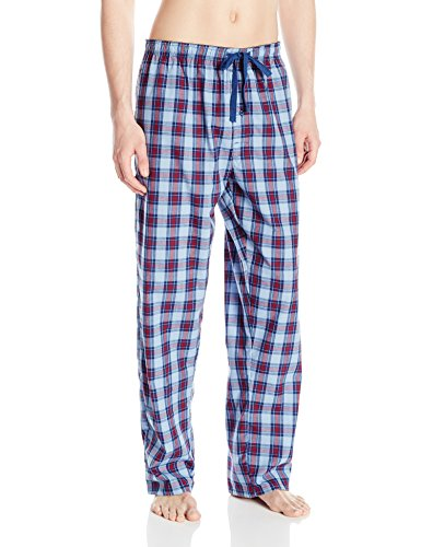Hanes Men's Woven Pajama Pant, Blue Plaid Sheer, X-Large