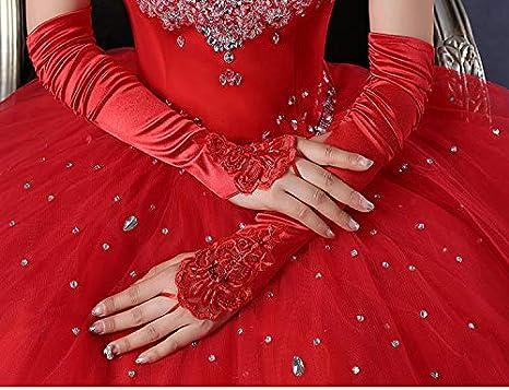 JHLWLS Gants De Mariage Longs Gants De Mariage Noir Coude Longueur Femme sans Doigts Rouge//Noir//Blanc Dentelle De Mari/ée Appliqued Gants De Danse Satin