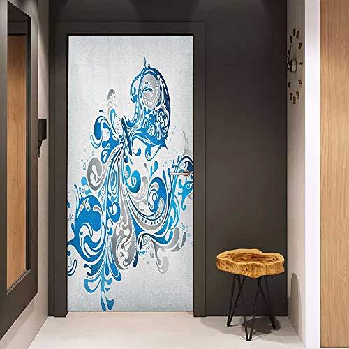 (Onefzc Front Door Sticker Zodiac Aquarius Bucket with Ornamental Swirled Lines Artistic Scroll Horoscope for Home Decor W17.1 x H78.7 Silver Grey Cobalt Blue )