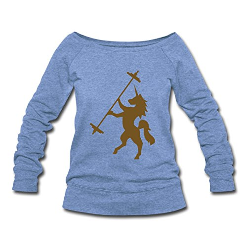 Unicorn Barbell - Women's Wideneck Sweatshirt by Spreadshirt, XXL, heather Blue