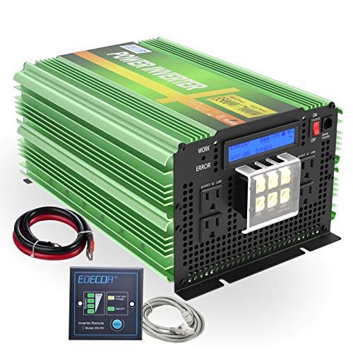 EDECOA Pure Sine Wave Power Inverter 3500W DC 12V to AC 120V with LCD Display and Remote Controller 4 AC Outlets and 1 Hardwire Terminal