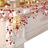 Collections Etc Indoor Festive Lighted Berry Beaded Garland Red Deal (Small Image)