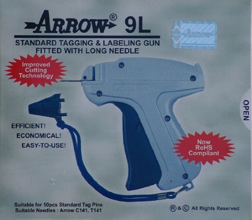 Arrow 9L LONG NECK NEEDLE Tag Gun + 1 Extra Needle + 1000 (Size 50mm) (2'') Barbs (Fasteners) Price Label Clothing Tagging Attacher with Steel Needle Combo by Tag Gun Supplies by Golden India
