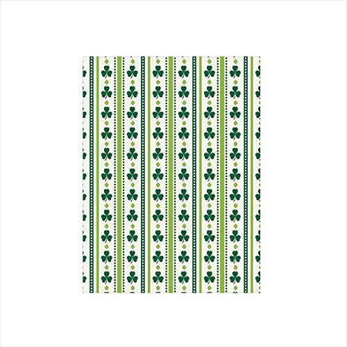 Decorative Privacy Window Film/Clovers Vertical Lines and Dots Irish Traditional Floral Pattern/No-Glue Self Static Cling for Home Bedroom Bathroom Kitchen Office Decor Lime Green Dark Green White