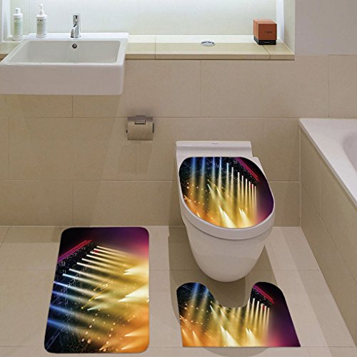 3 Piece Bathroom Mat Set,Musical Theatre Home Decor,Colorful Rays Concert Dance Music Staging Technology Smoky Night,Multicolor,Bath Mat,Bathroom Carpet Rug,Non-Slip by iPrint (Image #1)