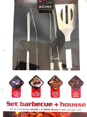 Set Barbecue INOX dans Pochette 7 PIECES + HOUSSE NOIR EN BOITE CADEAU