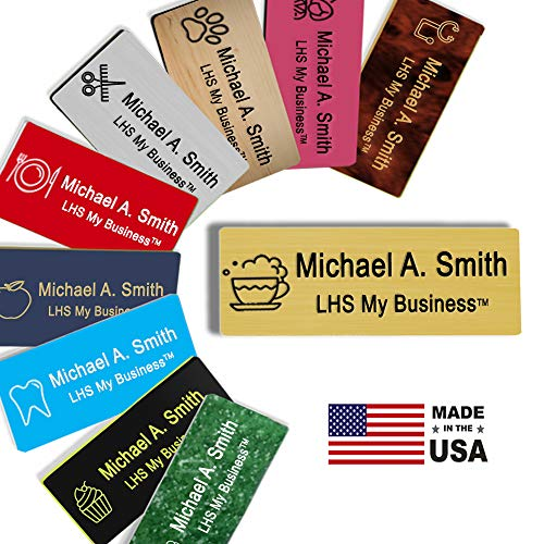LHS My Business | Magnetic Name Tags - Custom Engraved Brushed Brass Plastic Badge with Black Lettering Personalized in The USA - M6