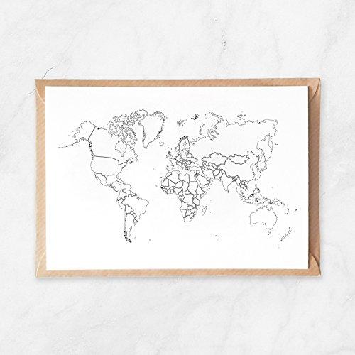 Amazon Com 5pcs Plain Outlines World Map Postcard Travel Map To