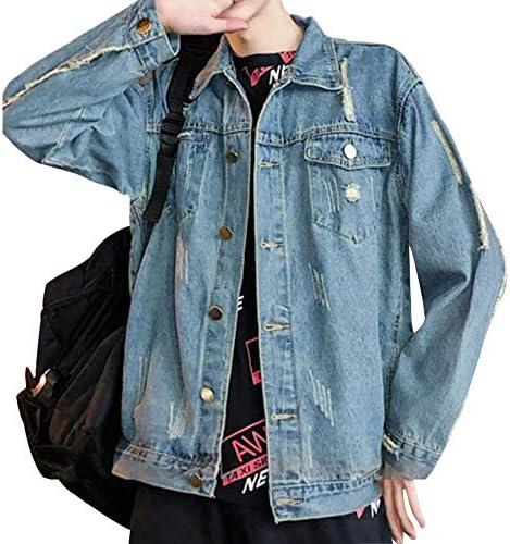 メンズ デニム ジャケット 原宿風 春秋服 ダメージ 加工 長袖 大きいサイズ カジュアル ファッション