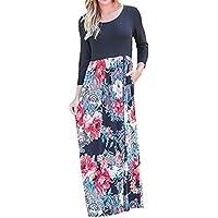 BCDshop Women Casual Floral Long Sleeve Boho Maxi Dresses with Pockets High Waist