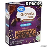 Great Value Gluten-Free Granola Bars, Dark Chocolate, 4.4 oz, 5 Count (6 packs)