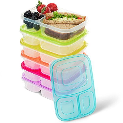 BloominGoods 3 Compartment Bento Lunch Box Containers | (Pack of 6) Reusable Meal Prep Containers | Perfect for Work, School or Outdoor Activity | Leak-Proof, Dishwasher & Microwave Safe by BloominGoods
