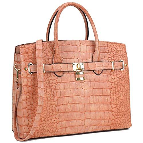 MKP Collection Croco Embossed Satchel. Fashion shoulder handbag.Purse for Holiday gift. Top handle handbag. Beautiful tote for all season. Designer handbag for woman (021006) Pink(Orange)