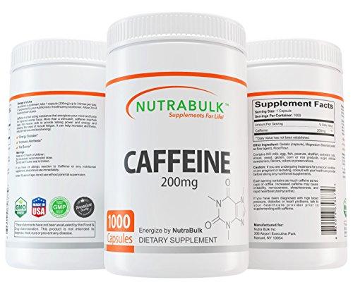 NutraBulk Premium Caffeine 200mg Capsules - 1000 Count