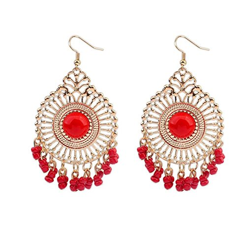 Singapore National Costume (Darkey Wang Woman Fashion Jewelry Temperament Retro National Wind Hollow Fringed Earrings(Red))