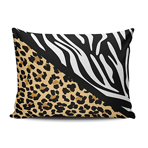 KAQIU Home Decoration Pillow Case Tan White Stylish Leopard Print Zebra Print Custom Throw Pillowcase Cushion Cover Queen Size 20X30 Inch Chic Personality Rectangular One Sided Printed Design (Covers Leopard Dining Chair Room)
