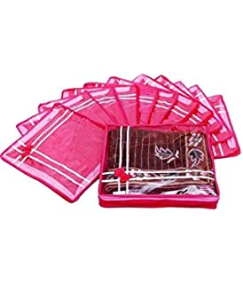 Fashion Bizz Pink Premium Single Saree Cover 12 Pcs Combo