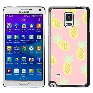 Piña Dibujo Cannabis humo 420- Metal de aluminio y de plástico duro Caja del teléfono - Negro - Samsung Galaxy Note 4