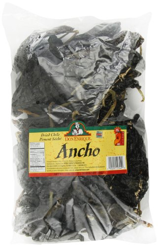 Melissa's Don Enrique Dried Chile Ancho Pasilla 16-Ounce Bag, Dried Ancho Chiles for Spicing and Garnishing in Cooking and Baking, Mildly Hot Dried Chiles, 3-5 out of 10 Heat - Pasilla Chile