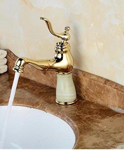 Bijjaladeva Antique Bathroom Sink Vessel Faucet Basin Mixer Tap Natural Jade Dragon full copper pull golden basin faucet single hole basin and cold water taps for the J