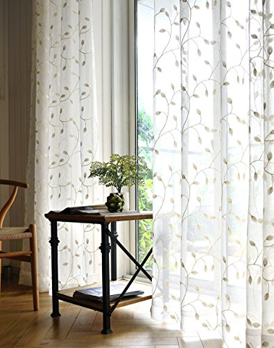 TIYANA Sweet Embroidery Voile Sheer Curtains Rod Pocket Top Ivy Leaves Embroidered Guaze Tulle Drapery Window Treatment for Bedroom Living Room Kids Room, 1 Panel, White, W40 x L96 inch