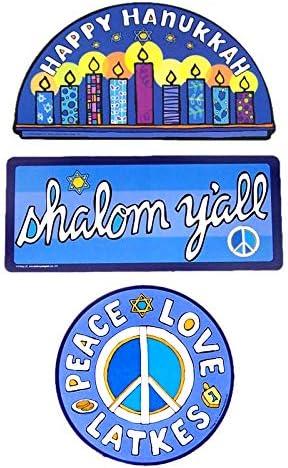 Happy Hanukkah Shalom Yall Peace Love Latkes Holiday Magnetic Set of 3 Cars