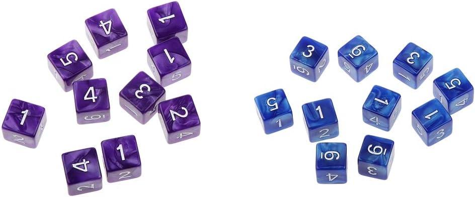 FLAMEER 20pcs D6 Dice Dados de 6 Caras de Números Accesorios para Juegos de Mesa (Color Azul, Púrpura): Amazon.es: Juguetes y juegos